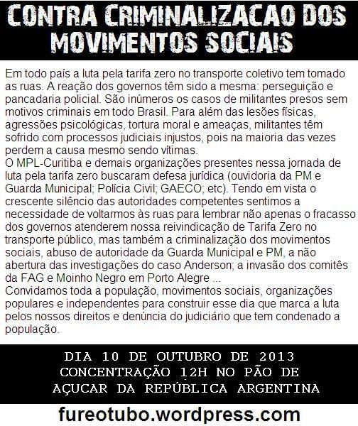 Protesto contra o julgamento político do MPL-Curitiba