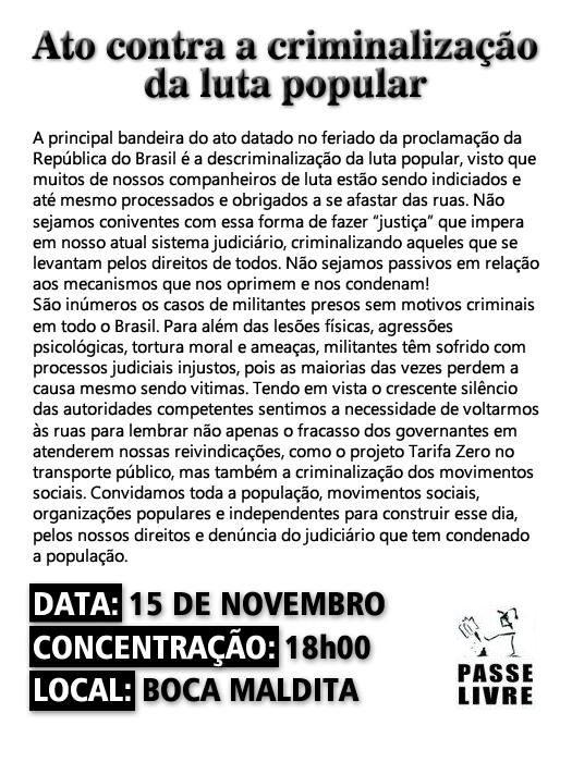 Dia 15 de Novembro Contra a Criminalização dos Movimentos Sociais